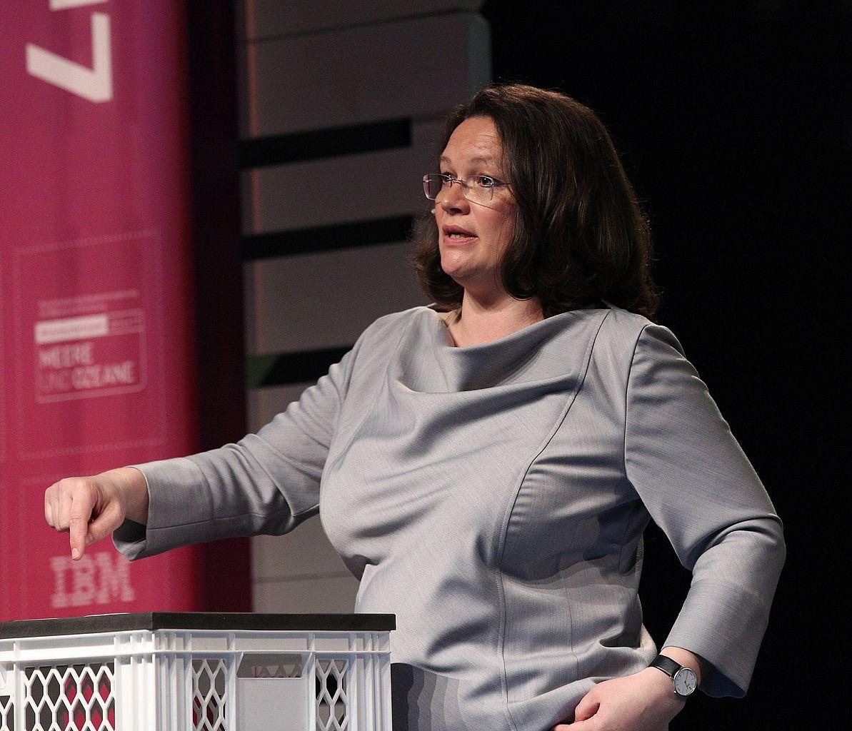 "SPD-Fraktionsvorsitzende Andrea Nahles: ""In die Fresse im"